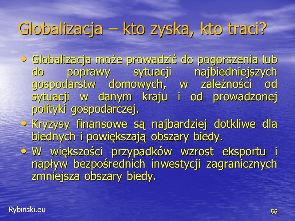 Rybinski.eu 55 Globalizacja może prowadzić do pogorszenia lub do poprawy sytuacji najbiedniejszych gospodarstw domowych, w zależności od sytuacji w danym kraju i od prowadzonej polityki gospodarczej.