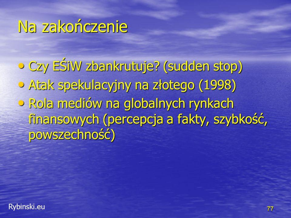 Rybinski.eu Na zakończenie Czy EŚiW zbankrutuje? (sudden stop) Czy EŚiW zbankrutuje? (sudden stop) Atak spekulacyjny na złotego (1998) Atak spekulacyj
