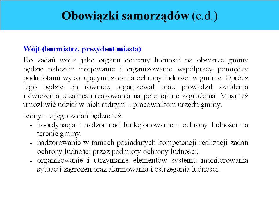 Obowiązki samorządów (c.d.)