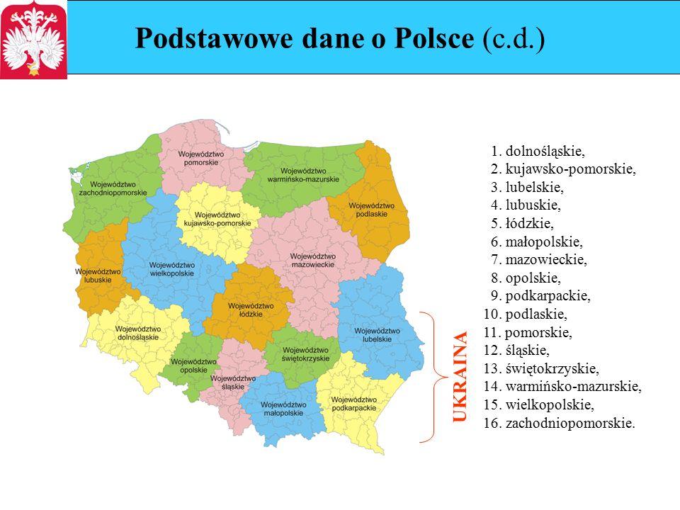 Podstawowe dane o Polsce (c.d.) 1. dolnośląskie, 2.