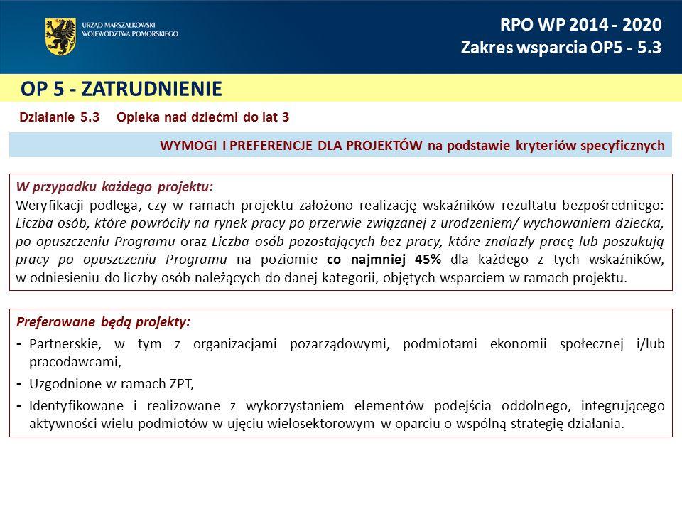 OP 5 - ZATRUDNIENIE RPO WP 2014 - 2020 Zakres wsparcia OP5 - 5.3 Działanie 5.3 Opieka nad dziećmi do lat 3 W przypadku każdego projektu: Weryfikacji p