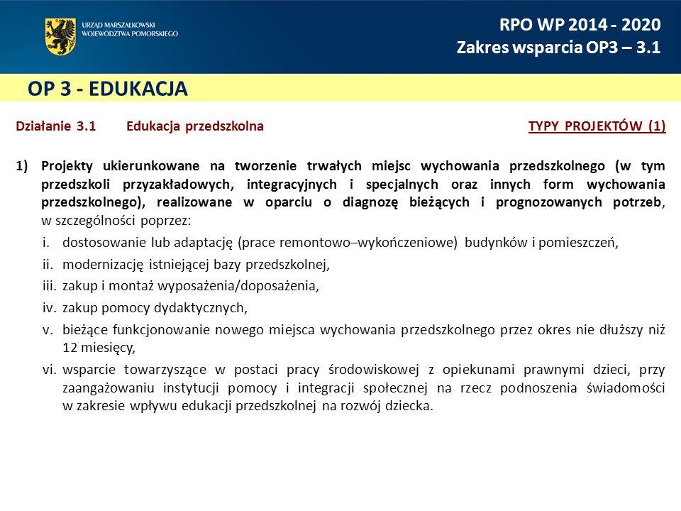 OP 3 - EDUKACJA RPO WP 2014 - 2020 Zakres wsparcia OP3 – 3.1 Działanie 3.1 Edukacja przedszkolnaTYPY PROJEKTÓW (1) 1)Projekty ukierunkowane na tworzenie trwałych miejsc wychowania przedszkolnego (w tym przedszkoli przyzakładowych, integracyjnych i specjalnych oraz innych form wychowania przedszkolnego), realizowane w oparciu o diagnozę bieżących i prognozowanych potrzeb, w szczególności poprzez: i.dostosowanie lub adaptację (prace remontowo–wykończeniowe) budynków i pomieszczeń, ii.modernizację istniejącej bazy przedszkolnej, iii.zakup i montaż wyposażenia/doposażenia, iv.zakup pomocy dydaktycznych, v.bieżące funkcjonowanie nowego miejsca wychowania przedszkolnego przez okres nie dłuższy niż 12 miesięcy, vi.wsparcie towarzyszące w postaci pracy środowiskowej z opiekunami prawnymi dzieci, przy zaangażowaniu instytucji pomocy i integracji społecznej na rzecz podnoszenia świadomości w zakresie wpływu edukacji przedszkolnej na rozwój dziecka.