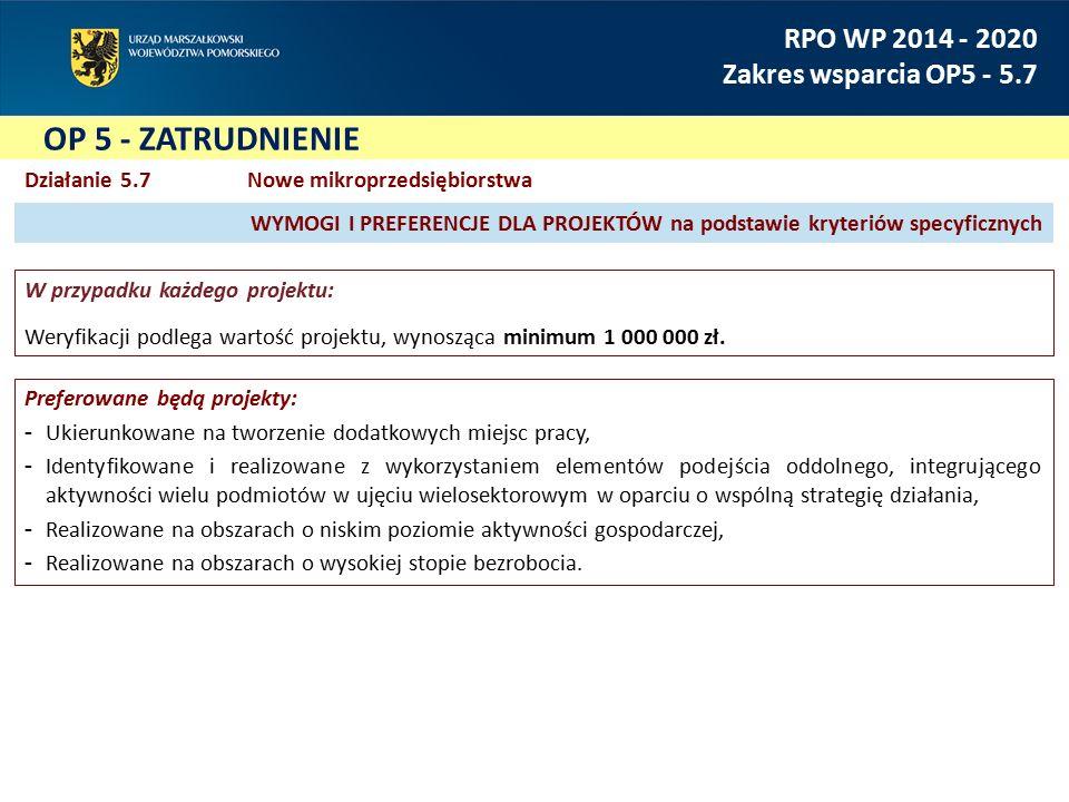 OP 5 - ZATRUDNIENIE RPO WP 2014 - 2020 Zakres wsparcia OP5 - 5.7 Działanie 5.7 Nowe mikroprzedsiębiorstwa W przypadku każdego projektu: Weryfikacji podlega wartość projektu, wynosząca minimum 1 000 000 zł.