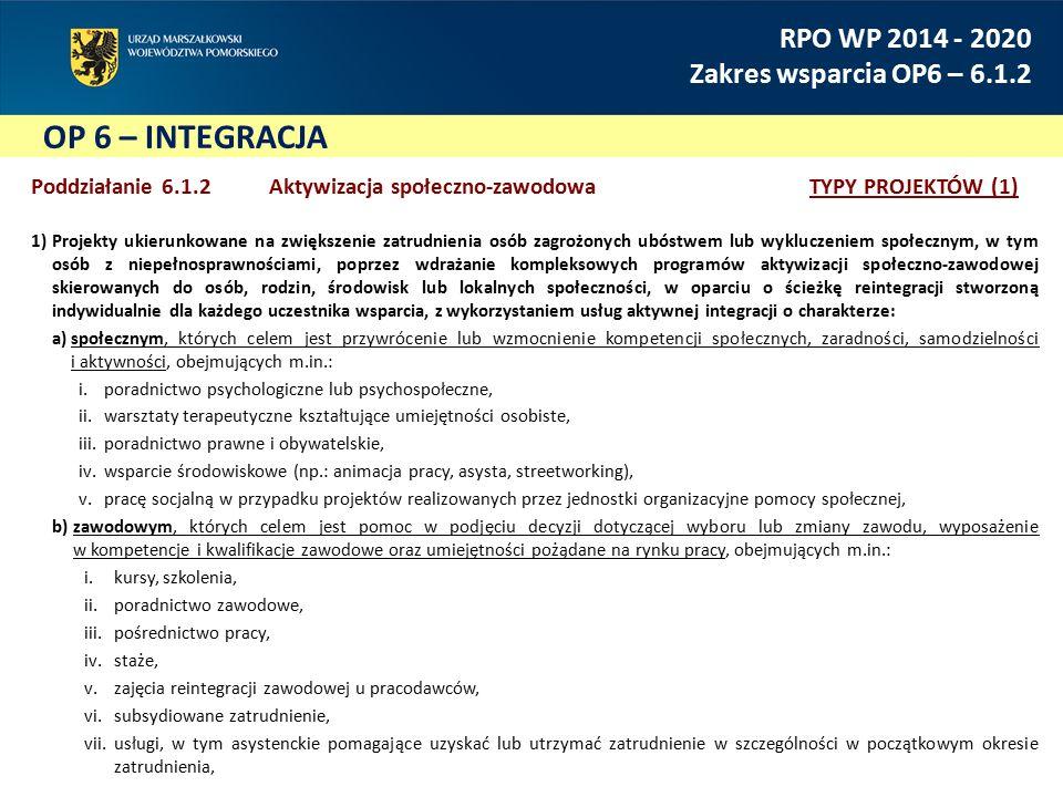 OP 6 – INTEGRACJA RPO WP 2014 - 2020 Zakres wsparcia OP6 – 6.1.2 Poddziałanie 6.1.2 Aktywizacja społeczno-zawodowaTYPY PROJEKTÓW (1) 1)Projekty ukierunkowane na zwiększenie zatrudnienia osób zagrożonych ubóstwem lub wykluczeniem społecznym, w tym osób z niepełnosprawnościami, poprzez wdrażanie kompleksowych programów aktywizacji społeczno-zawodowej skierowanych do osób, rodzin, środowisk lub lokalnych społeczności, w oparciu o ścieżkę reintegracji stworzoną indywidualnie dla każdego uczestnika wsparcia, z wykorzystaniem usług aktywnej integracji o charakterze: a)społecznym, których celem jest przywrócenie lub wzmocnienie kompetencji społecznych, zaradności, samodzielności i aktywności, obejmujących m.in.: i.poradnictwo psychologiczne lub psychospołeczne, ii.warsztaty terapeutyczne kształtujące umiejętności osobiste, iii.poradnictwo prawne i obywatelskie, iv.wsparcie środowiskowe (np.: animacja pracy, asysta, streetworking), v.pracę socjalną w przypadku projektów realizowanych przez jednostki organizacyjne pomocy społecznej, b)zawodowym, których celem jest pomoc w podjęciu decyzji dotyczącej wyboru lub zmiany zawodu, wyposażenie w kompetencje i kwalifikacje zawodowe oraz umiejętności pożądane na rynku pracy, obejmujących m.in.: i.kursy, szkolenia, ii.poradnictwo zawodowe, iii.pośrednictwo pracy, iv.staże, v.zajęcia reintegracji zawodowej u pracodawców, vi.subsydiowane zatrudnienie, vii.usługi, w tym asystenckie pomagające uzyskać lub utrzymać zatrudnienie w szczególności w początkowym okresie zatrudnienia,