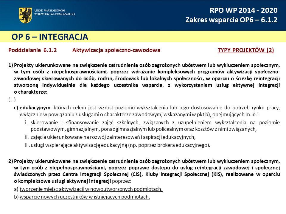 OP 6 – INTEGRACJA RPO WP 2014 - 2020 Zakres wsparcia OP6 – 6.1.2 Poddziałanie 6.1.2 Aktywizacja społeczno-zawodowaTYPY PROJEKTÓW (2) 1)Projekty ukierunkowane na zwiększenie zatrudnienia osób zagrożonych ubóstwem lub wykluczeniem społecznym, w tym osób z niepełnosprawnościami, poprzez wdrażanie kompleksowych programów aktywizacji społeczno- zawodowej skierowanych do osób, rodzin, środowisk lub lokalnych społeczności, w oparciu o ścieżkę reintegracji stworzoną indywidualnie dla każdego uczestnika wsparcia, z wykorzystaniem usług aktywnej integracji o charakterze: (…) c)edukacyjnym, których celem jest wzrost poziomu wykształcenia lub jego dostosowanie do potrzeb rynku pracy, wyłącznie w powiązaniu z usługami o charakterze zawodowym, wskazanymi w pkt b), obejmujących m.in.: i.skierowanie i sfinansowanie zajęć szkolnych, związanych z uzupełnieniem wykształcenia na poziomie podstawowym, gimnazjalnym, ponadgimnazjalnym lub policealnym oraz kosztów z nimi związanych, ii.zajęcia ukierunkowane na rozwój zainteresowań i aspiracji edukacyjnych, iii.usługi wspierające aktywizację edukacyjną (np.