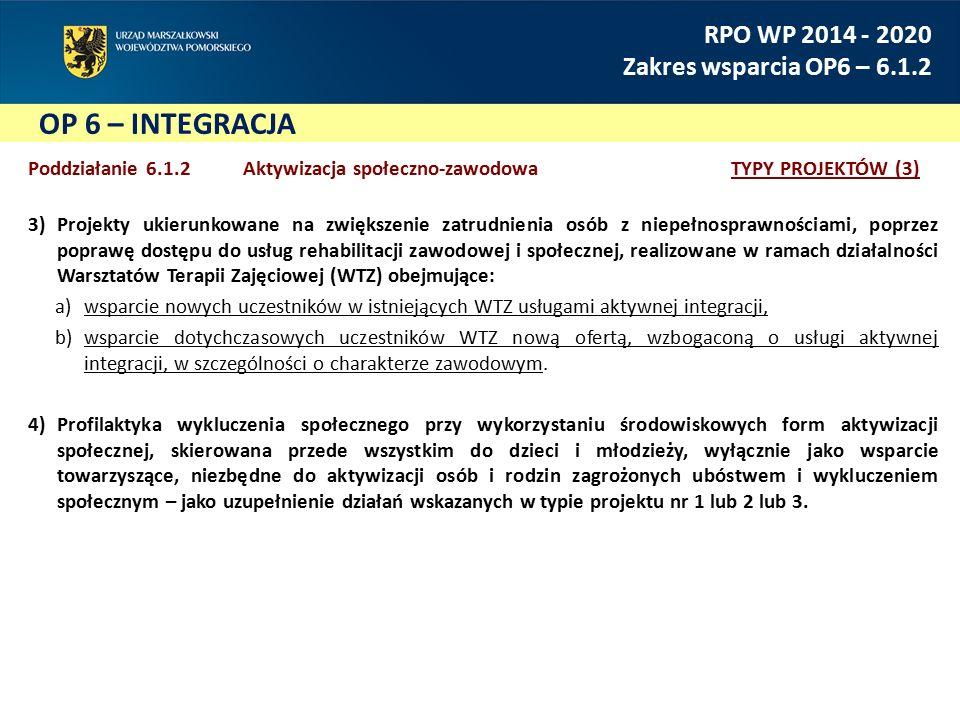 OP 6 – INTEGRACJA RPO WP 2014 - 2020 Zakres wsparcia OP6 – 6.1.2 Poddziałanie 6.1.2 Aktywizacja społeczno-zawodowaTYPY PROJEKTÓW (3) 3)Projekty ukieru