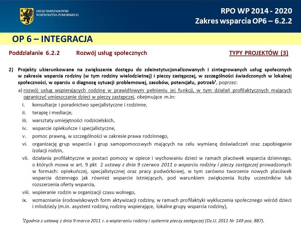 OP 6 – INTEGRACJA RPO WP 2014 - 2020 Zakres wsparcia OP6 – 6.2.2 Poddziałanie 6.2.2 Rozwój usług społecznychTYPY PROJEKTÓW (3) 2)Projekty ukierunkowane na zwiększenie dostępu do zdeinstytucjonalizowanych i zintegrowanych usług społecznych w zakresie wsparcia rodziny (w tym rodziny wielodzietnej) i pieczy zastępczej, w szczególności świadczonych w lokalnej społeczności, w oparciu o diagnozę sytuacji problemowej, zasobów, potencjału, potrzeb¹, poprzez: a)rozwój usług wspierających rodzinę w prawidłowym pełnieniu jej funkcji, w tym działań profilaktycznych mających ograniczyć umieszczanie dzieci w pieczy zastępczej, obejmujące m.in: i.konsultacje i poradnictwo specjalistyczne i rodzinne, ii.terapię i mediacje, iii.warsztaty umiejętności rodzicielskich, iv.wsparcie opiekuńcze i specjalistyczne, v.pomoc prawną, w szczególności w zakresie prawa rodzinnego, vi.organizację grup wsparcia i grup samopomocowych mających na celu wymianę doświadczeń oraz zapobieganie izolacji rodzin, vii.działania profilaktyczne w postaci pomocy w opiece i wychowaniu dzieci w ramach placówek wsparcia dziennego, o których mowa w art.