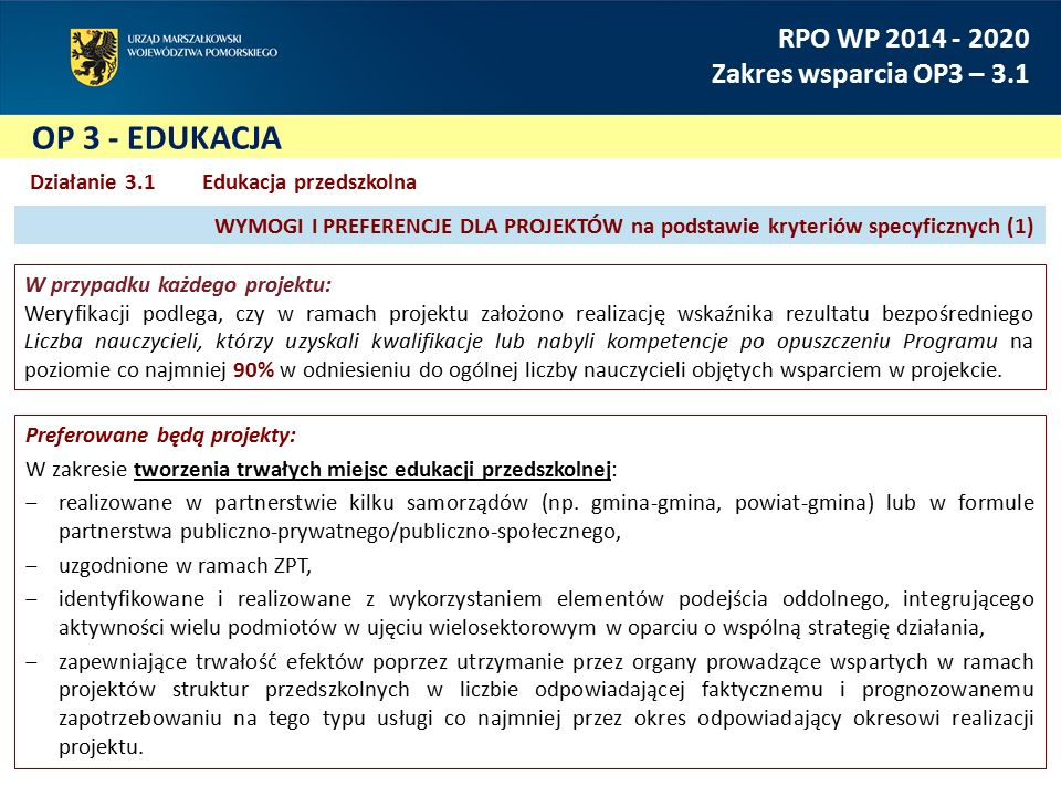 OP 3 - EDUKACJA RPO WP 2014 - 2020 Zakres wsparcia OP3 – 3.1 Działanie 3.1 Edukacja przedszkolna Preferowane będą projekty: W ramach wdrażania kompleksowego wspomagania przedszkoli realizowane będą projekty działania skierowane do nauczycieli, dzieci oraz ich opiekunów prawnych: ‒partnerskie, w tym przede wszystkim realizowane przez organy prowadzące szkoły/przedszkola z co najmniej jednym spośród następujących podmiotów: ‒organizacje pozarządowe, ‒instytucje edukacyjne/szkoły wyższe, ‒instytucje kultury, ‒realizowane z wykorzystaniem technologii i usług cyfrowych.