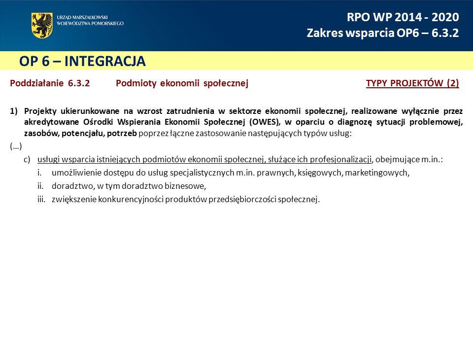 OP 6 – INTEGRACJA RPO WP 2014 - 2020 Zakres wsparcia OP6 – 6.3.2 Poddziałanie 6.3.2 Podmioty ekonomii społecznejTYPY PROJEKTÓW (2) 1)Projekty ukierunkowane na wzrost zatrudnienia w sektorze ekonomii społecznej, realizowane wyłącznie przez akredytowane Ośrodki Wspierania Ekonomii Społecznej (OWES), w oparciu o diagnozę sytuacji problemowej, zasobów, potencjału, potrzeb poprzez łączne zastosowanie następujących typów usług: (…) c)usługi wsparcia istniejących podmiotów ekonomii społecznej, służące ich profesjonalizacji, obejmujące m.in.: i.umożliwienie dostępu do usług specjalistycznych m.in.