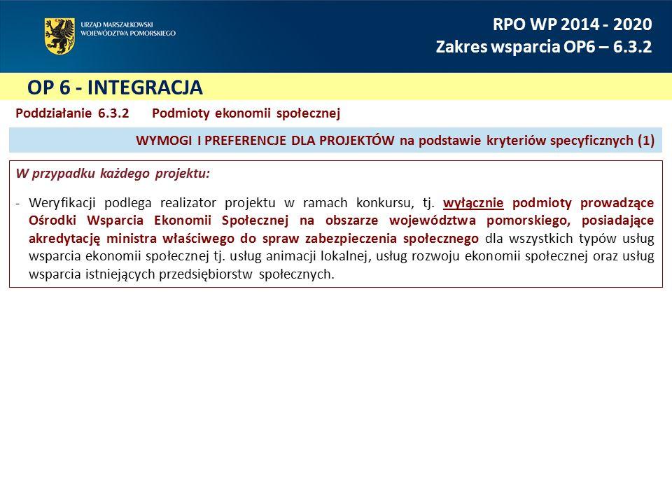 OP 6 - INTEGRACJA RPO WP 2014 - 2020 Zakres wsparcia OP6 – 6.3.2 Poddziałanie 6.3.2Podmioty ekonomii społecznej W przypadku każdego projektu: Weryfikacji podlega realizator projektu w ramach konkursu, tj.