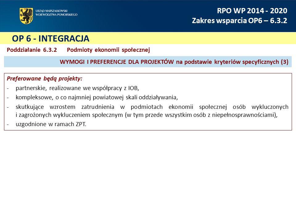 OP 6 - INTEGRACJA RPO WP 2014 - 2020 Zakres wsparcia OP6 – 6.3.2 Poddziałanie 6.3.2Podmioty ekonomii społecznej Preferowane będą projekty: -partnerski