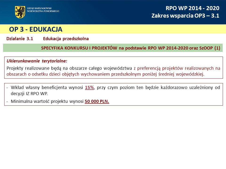 OP 3 - EDUKACJA RPO WP 2014 - 2020 Zakres wsparcia OP3 – 3.1 -Wkład własny beneficjenta wynosi 15%, przy czym poziom ten będzie każdorazowo uzależnion