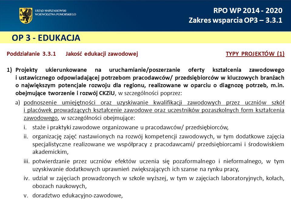 OP 3 - EDUKACJA RPO WP 2014 - 2020 Zakres wsparcia OP3 – 3.3.1 Poddziałanie 3.3.1 Jakość edukacji zawodowejTYPY PROJEKTÓW (2) 1)Projekty ukierunkowane na uruchamianie/poszerzanie oferty kształcenia zawodowego i ustawicznego odpowiadającej potrzebom pracodawców/ przedsiębiorców w kluczowych branżach o największym potencjale rozwoju dla regionu, realizowane w oparciu o diagnozę potrzeb, m.in.