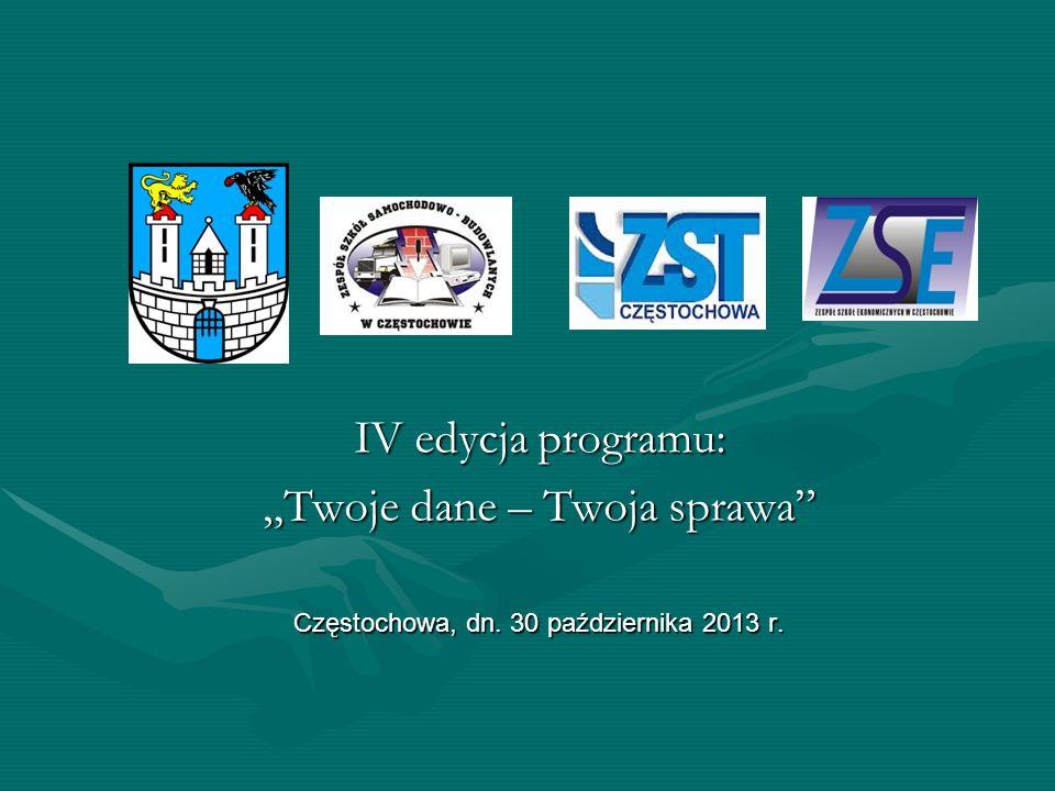 """IV edycja programu: """"Twoje dane – Twoja sprawa"""" Częstochowa, dn. 30 października 2013 r."""