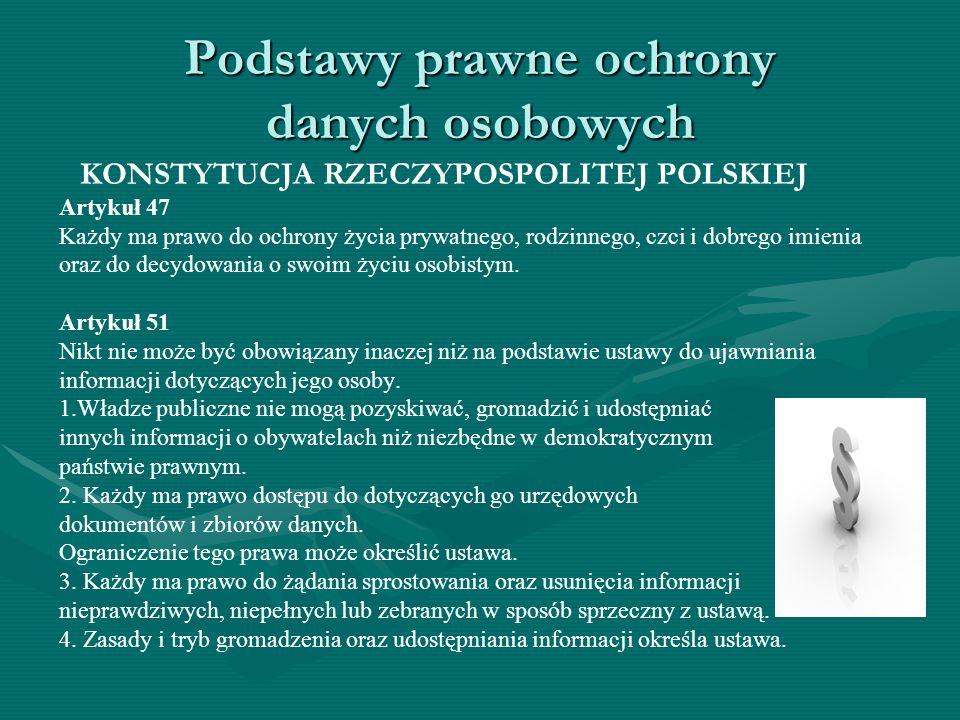 Podstawy prawne ochrony danych osobowych KONSTYTUCJA RZECZYPOSPOLITEJ POLSKIEJ Artykuł 47 Każdy ma prawo do ochrony życia prywatnego, rodzinnego, czci