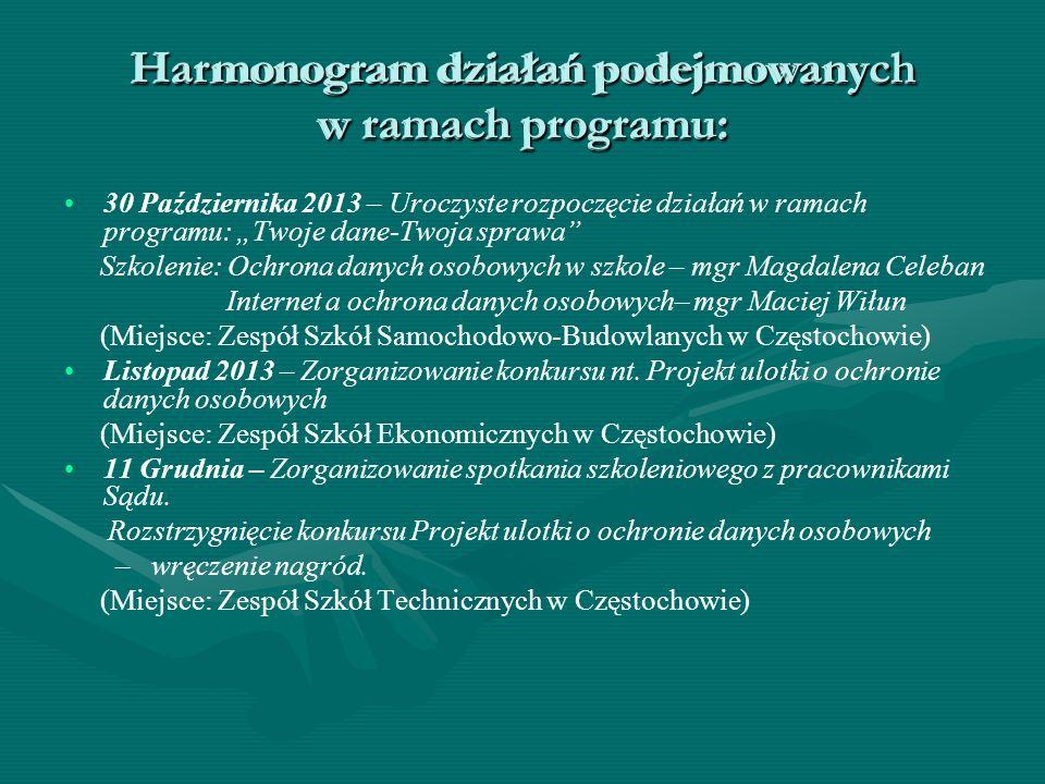 """Harmonogram działań podejmowanych w ramach programu: 30 Października 2013 – Uroczyste rozpoczęcie działań w ramach programu: """"Twoje dane-Twoja sprawa"""""""