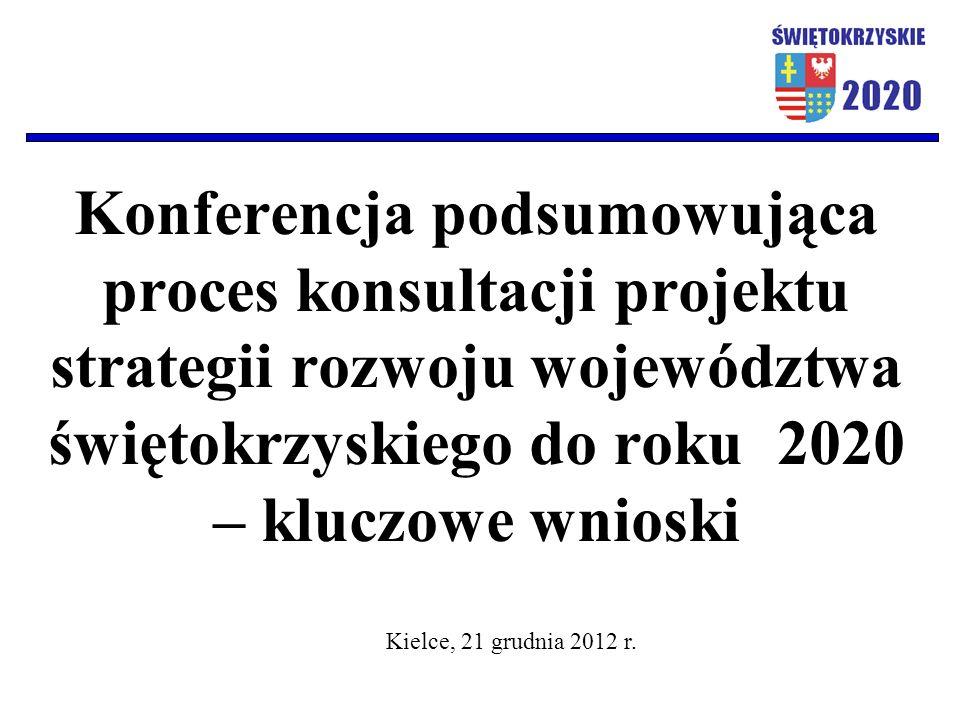 Konferencja podsumowująca proces konsultacji projektu strategii rozwoju województwa świętokrzyskiego do roku 2020 – kluczowe wnioski Kielce, 21 grudni