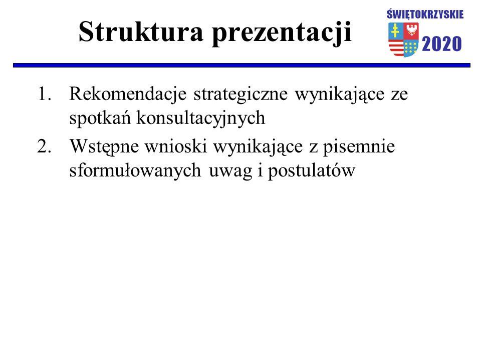 Struktura prezentacji 1.Rekomendacje strategiczne wynikające ze spotkań konsultacyjnych 2.Wstępne wnioski wynikające z pisemnie sformułowanych uwag i