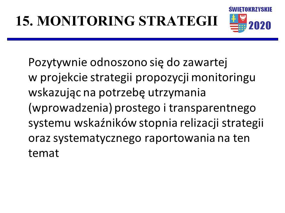 15. MONITORING STRATEGII Pozytywnie odnoszono się do zawartej w projekcie strategii propozycji monitoringu wskazując na potrzebę utrzymania (wprowadze