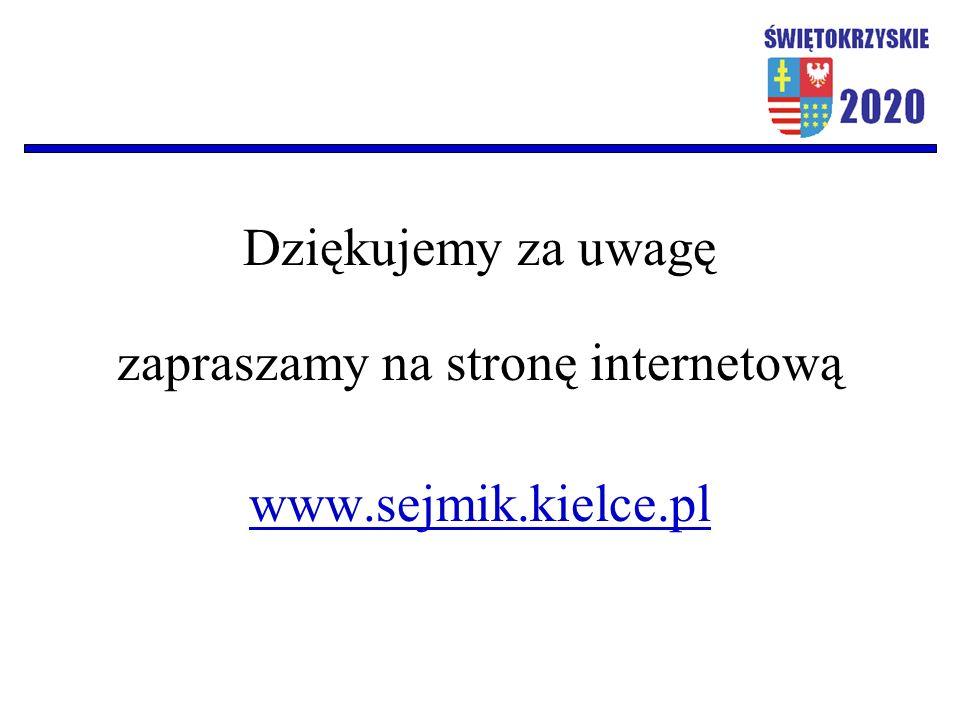 Dziękujemy za uwagę zapraszamy na stronę internetową www.sejmik.kielce.pl