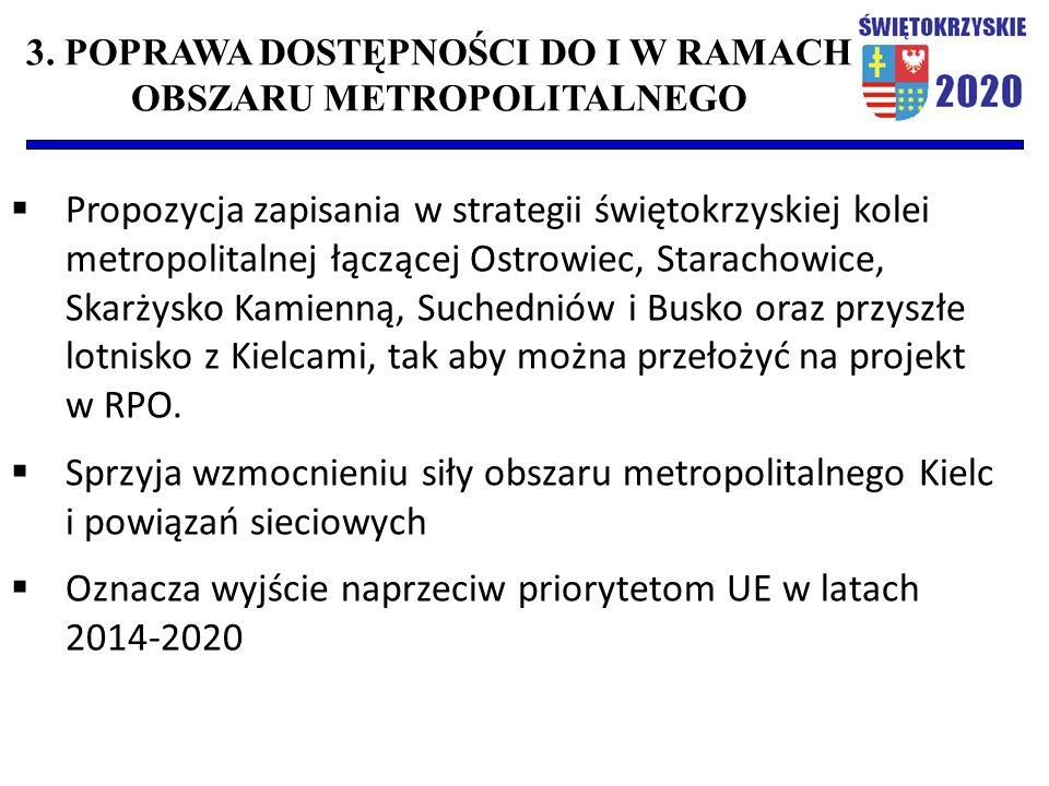  Propozycja zapisania w strategii świętokrzyskiej kolei metropolitalnej łączącej Ostrowiec, Starachowice, Skarżysko Kamienną, Suchedniów i Busko oraz