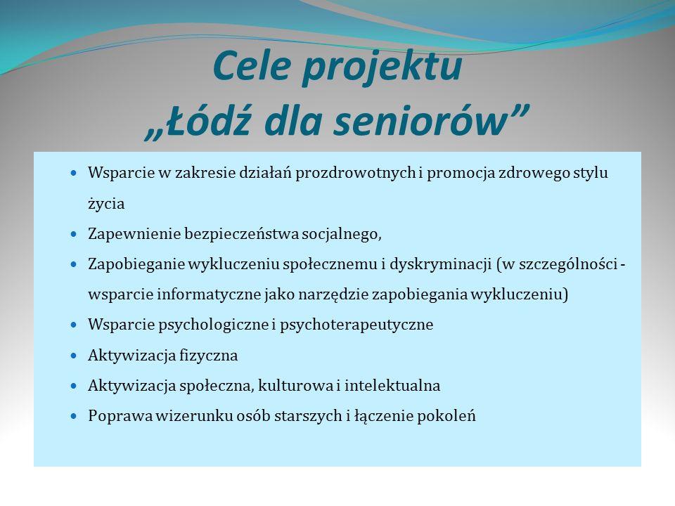 """Cele projektu """"Łódź dla seniorów Wsparcie w zakresie działań prozdrowotnych i promocja zdrowego stylu życia Zapewnienie bezpieczeństwa socjalnego, Zapobieganie wykluczeniu społecznemu i dyskryminacji (w szczególności - wsparcie informatyczne jako narzędzie zapobiegania wykluczeniu) Wsparcie psychologiczne i psychoterapeutyczne Aktywizacja fizyczna Aktywizacja społeczna, kulturowa i intelektualna Poprawa wizerunku osób starszych i łączenie pokoleń"""