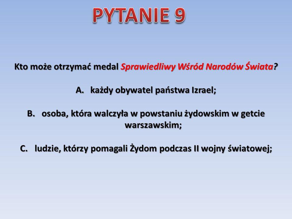 Czym zajmowała się organizacja o kryptonimie ŻEGOTA? A. przerzutem polskich żołnierzy z Anglii do Warszawy; B. była to Rada Pomocy Żydom; C. była to t