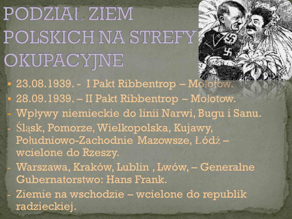  23.08.1939. - I Pakt Ribbentrop – Mo ł otow.  28.09.1939. – II Pakt Ribbentrop – Mo ł otow. - Wp ł ywy niemieckie do linii Narwi, Bugu i Sanu. - Ś