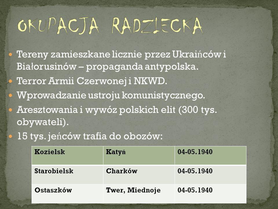 Tereny zamieszkane licznie przez Ukrai ń ców i Bia ł orusinów – propaganda antypolska. Terror Armii Czerwonej i NKWD. Wprowadzanie ustroju komunistycz