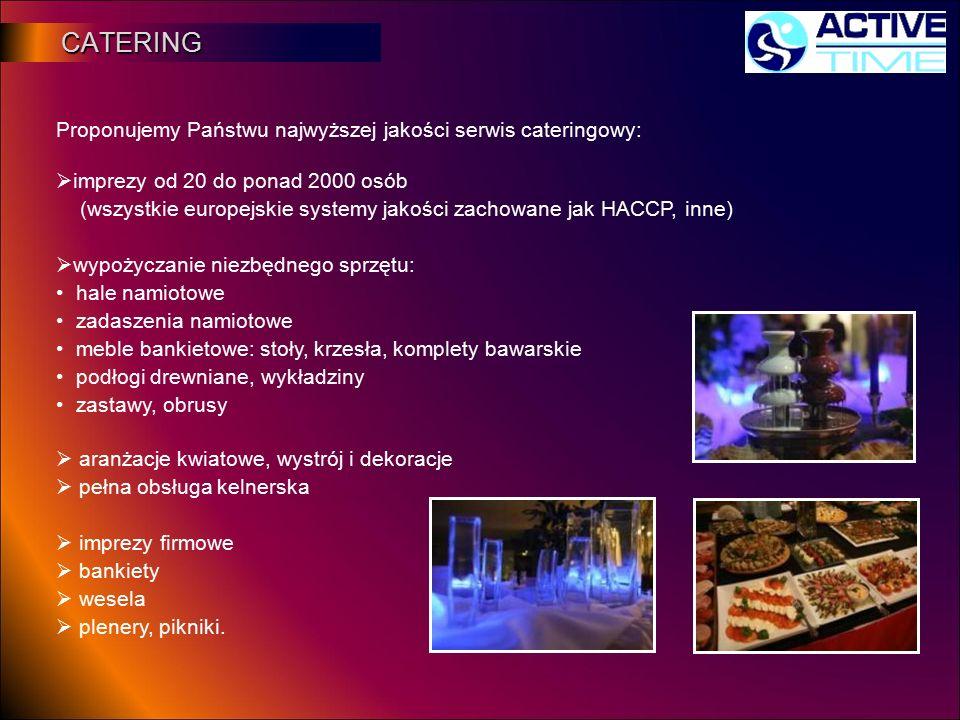 CATERING CATERING Proponujemy Państwu najwyższej jakości serwis cateringowy:  imprezy od 20 do ponad 2000 osób (wszystkie europejskie systemy jakości