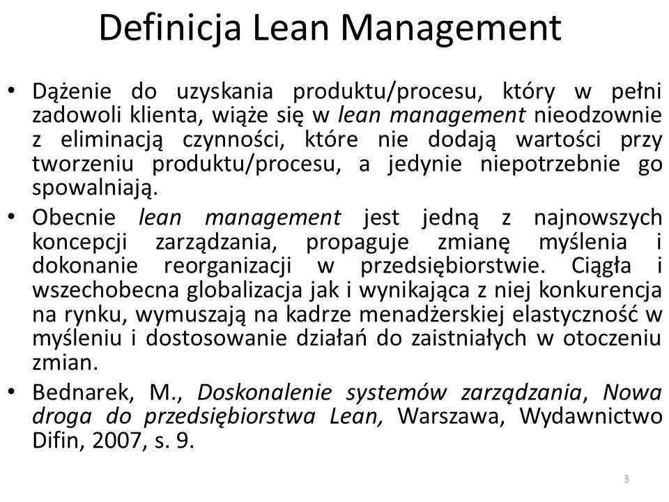 Istota i ogólne założenia koncepcji lean management Mimo, że koncepcja lean management nosi w swej nazwie amerykański pierwiastek, swój rodowód wynosi z Japonii.