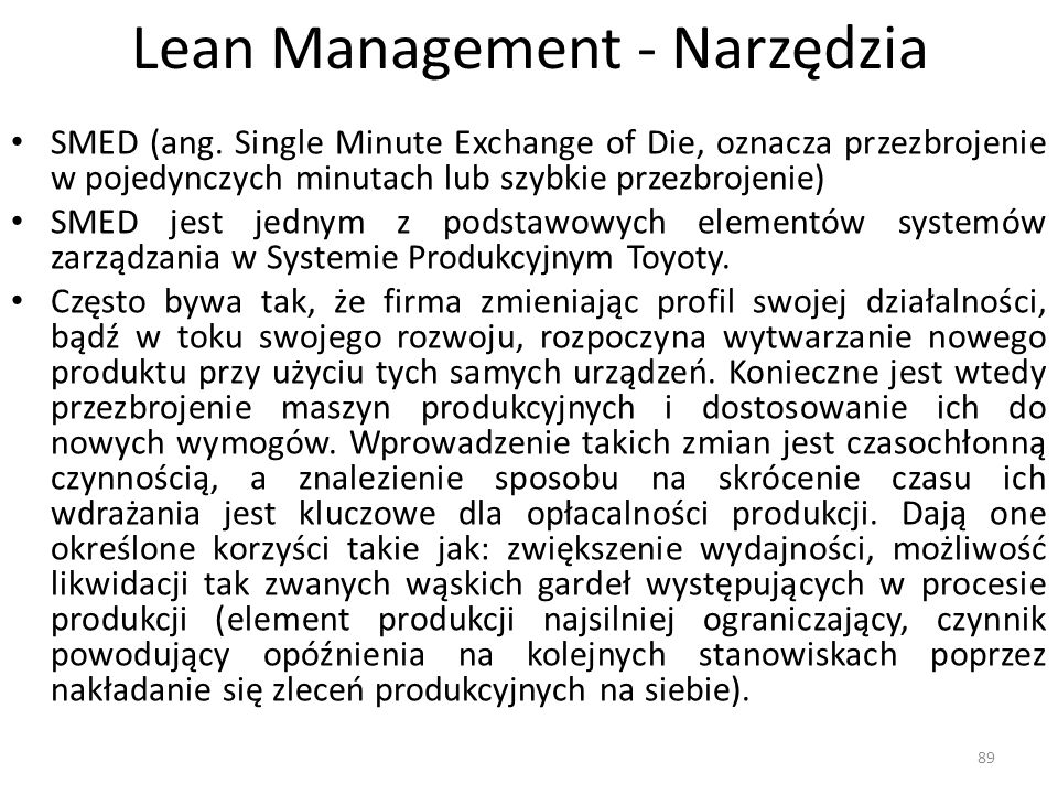 Lean Management - Narzędzia SMED (ang.