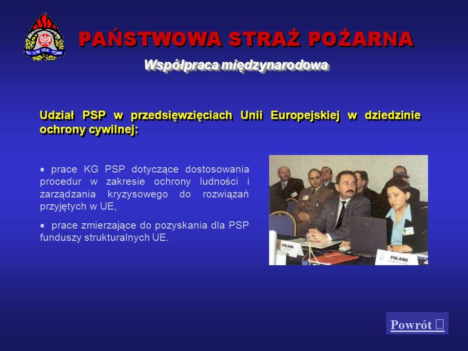 Współpraca w zakresie ratownictwa i ochrony ludności z:  Inicjatywą Środkowoeuropejską  Paktem Stabilności dla Europy Południowo-Wschodniej  Radą Państw Morza Bałtyckiego  Grupą Wyszehradzką  Wysokim Komitetem Planowania Cywilnego (SCEPC)  Komitetem Ochrony Cywilnej (CPC) Uczestnictwo Komendy Głównej PSP w corocznych ćwiczeniach zarządzania kryzysowego z serii CMX: - BARENTS RESCUE, COMPROTEX, TRANSCARPATHIA, FATRA, POMERANIA (Szczecin), DALMATIA (Chorwacja) oraz BODGORODSK (Rosja).