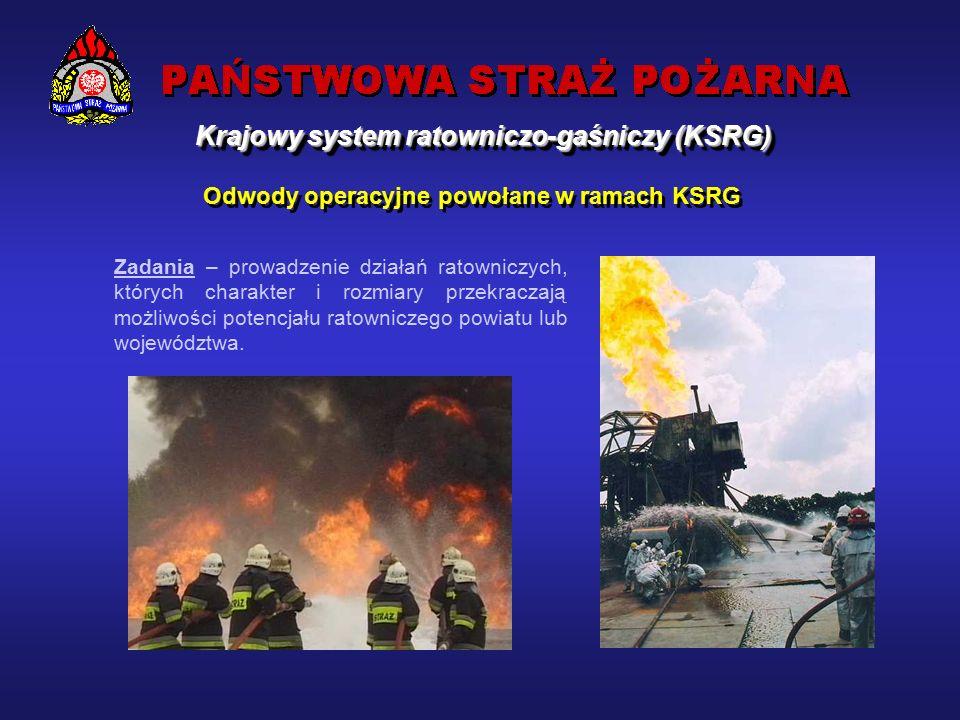 Działania prowadzone przez siły krajowego systemu ratowniczo-gaśniczego :  walka z pożarami  likwidacja miejscowych zagrożeń  usuwanie skutków klęsk żywiołowych Krajowy system ratowniczo-gaśniczy (KSRG)