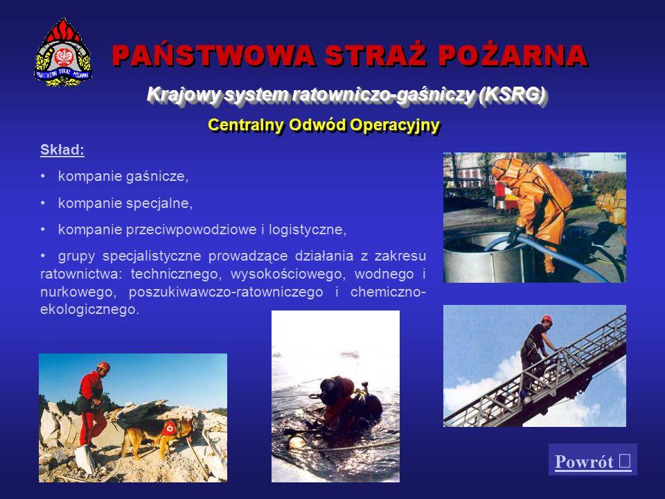 Odwody operacyjne powołane w ramach KSRG Centralny Odwód Operacyjny stanowią wydzielone siły i środki specjalistyczne PSP, w tym z 16 krajowych baz sprzętu specjalistycznego:  sprzęt  środki gaśnicze i neutralizujące Krajowy system ratowniczo-gaśniczy (KSRG)