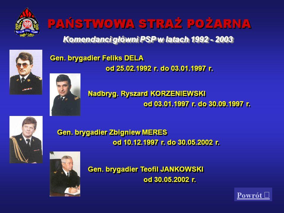1. Komendanci główni PSP w latach 1992 -2003 2. Organizacja 3.