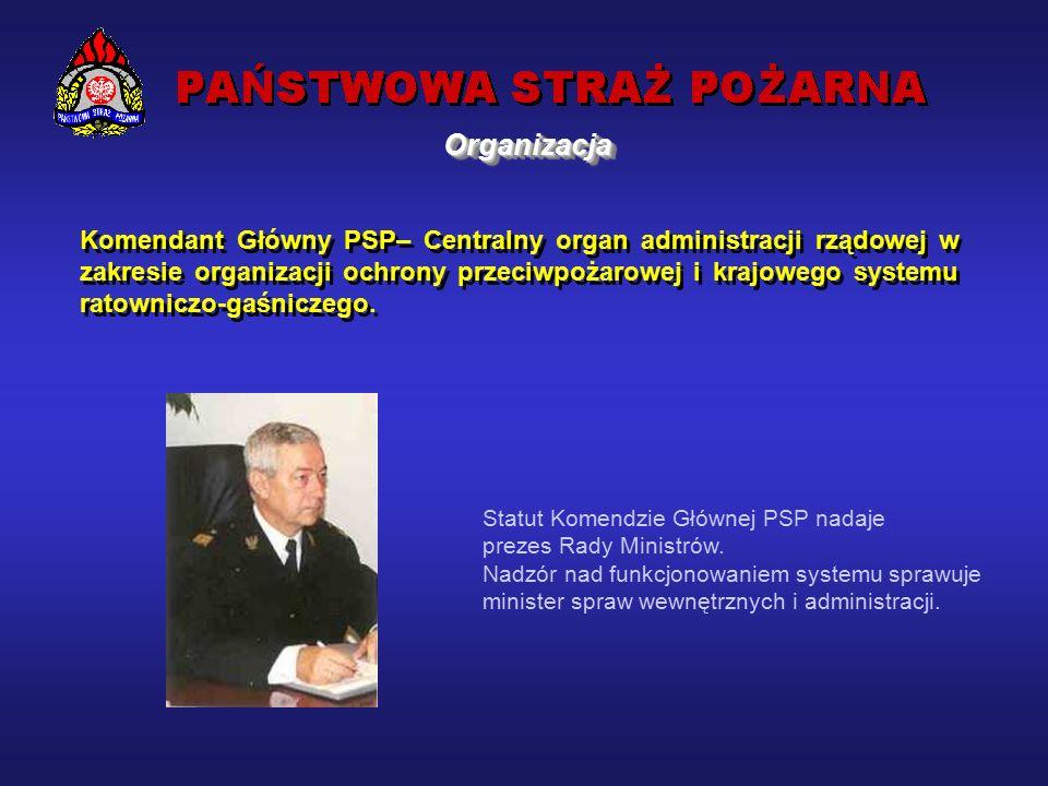 OrganizacjaOrganizacja Państwowa Straż Pożarna podstawowy element scentralizowanego systemu ratowniczego, wprowadzony na mocy ustaw z dnia 24 sierpnia 1991 roku o Państwowej Straży Pożarnej i o ochronie przeciwpożarowej.