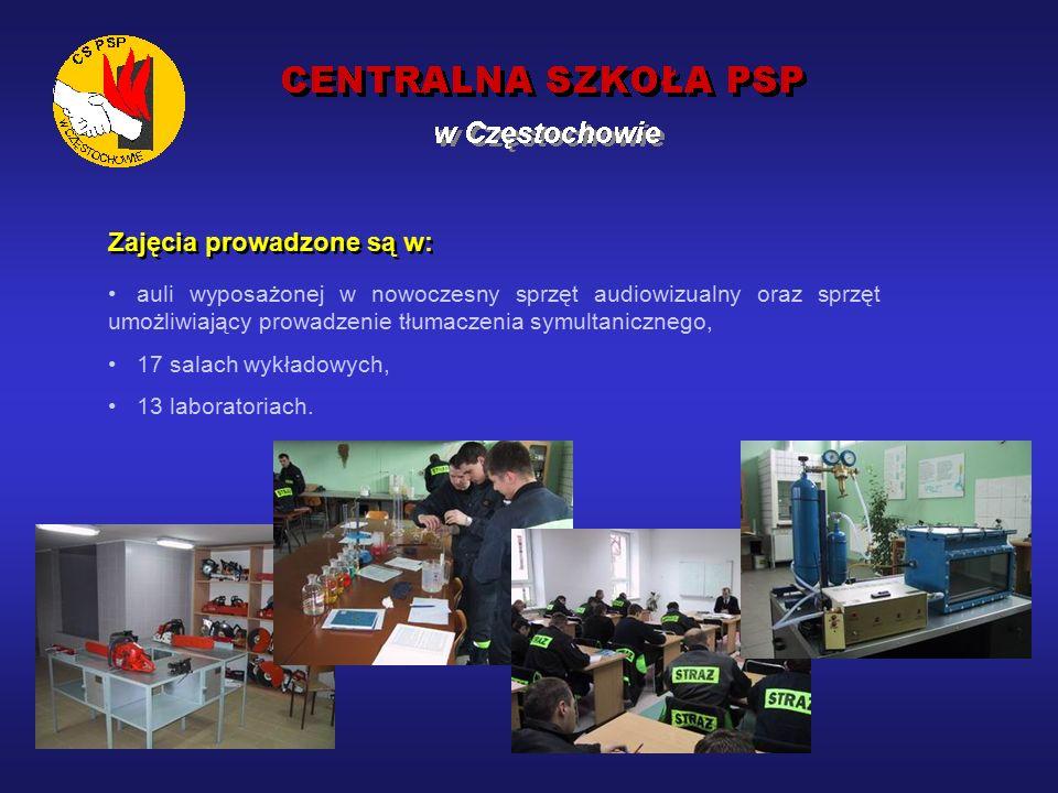Działalność dydaktyczna 10 października 1994 rok– pierwszy Kurs Kwalifikacyjny Podoficerów PSP, 1996 rok– zapoczątkowanie kształcenia aspirantów w systemie zaocznym, 1997 rok– zapoczątkowanie kształcenia aspirantów w systemie dziennym, 2002 rok– zorganizowanie wspólnie ze Szkołą Główną Służby Pożarniczej Turnusu Studiów Podyplomowych w zakresie oficerskiego przeszkolenia zawodowego.