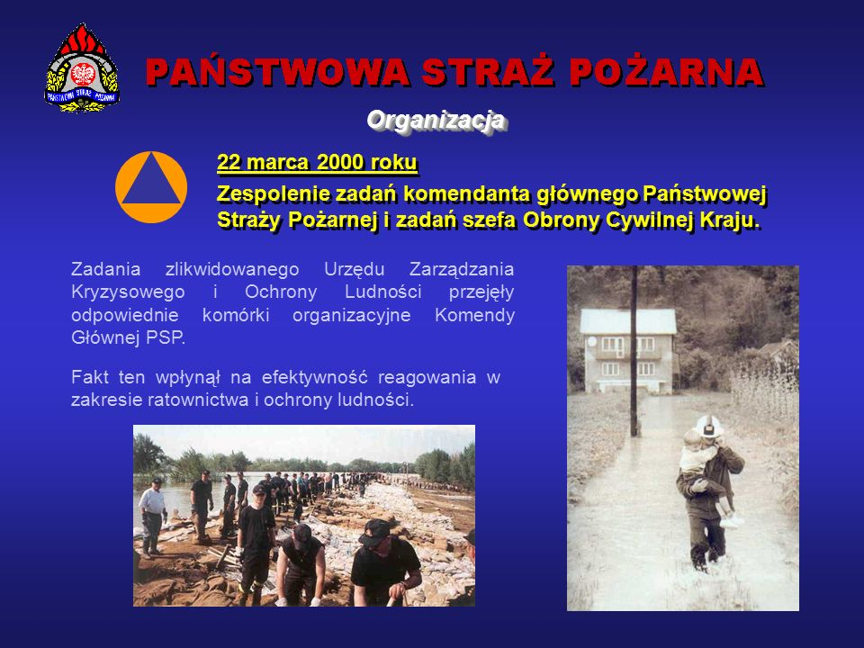 22 marca 2000 roku Zespolenie zadań komendanta głównego Państwowej Straży Pożarnej i zadań szefa Obrony Cywilnej Kraju.