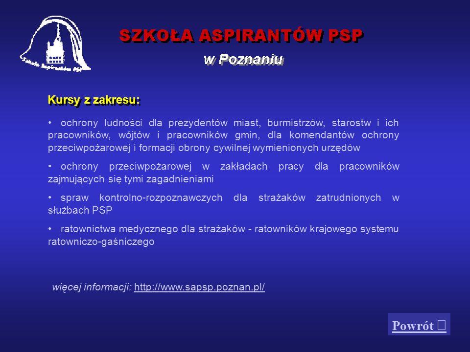 Szkoła jest Centralnym Odwodem Operacyjnym dysponowanym przez komendanta głównego PSP, szefa OCK do akcji ratowniczo-gaśniczych na terenie całego kraju.