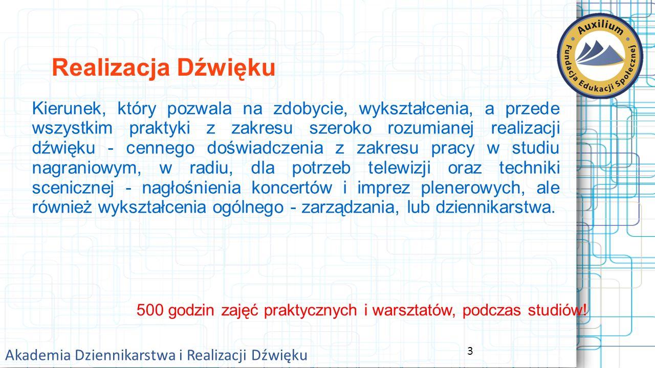14 Akademia Dziennikarstwa i Realizacji Dźwięku Opłaty za studia: Wpisowe - 500,- PLN.