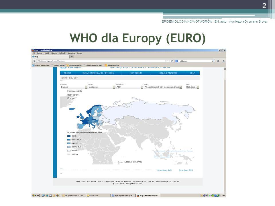 WHO dla Europy (EURO) EPIDEMIOLOGIA NOWOTWORÓW - EN, autor: Agnieszka Dyzmann-Sroka 2