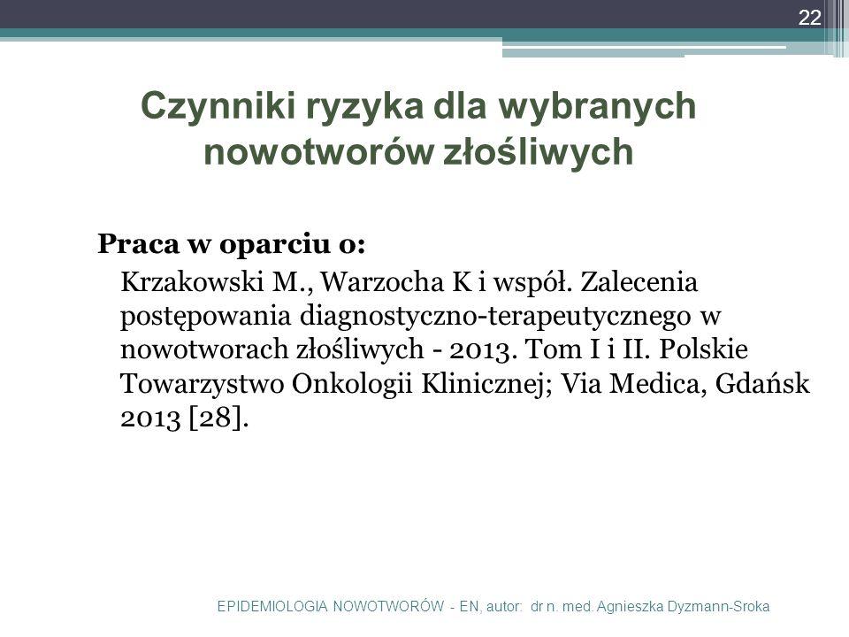 Czynniki ryzyka dla wybranych nowotworów złośliwych Praca w oparciu o: Krzakowski M., Warzocha K i współ.