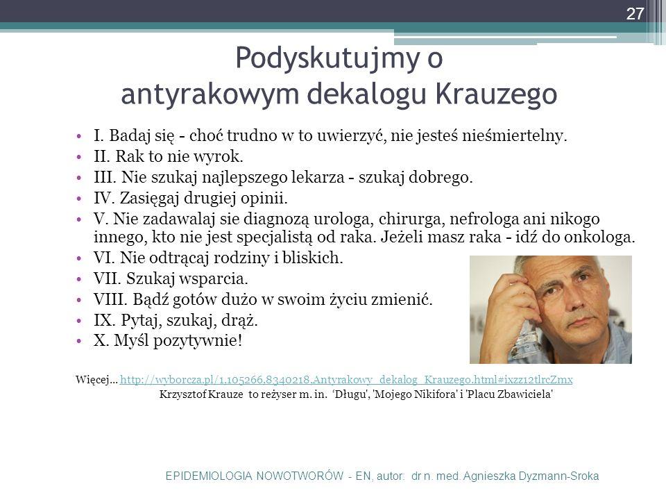 Podyskutujmy o antyrakowym dekalogu Krauzego I.