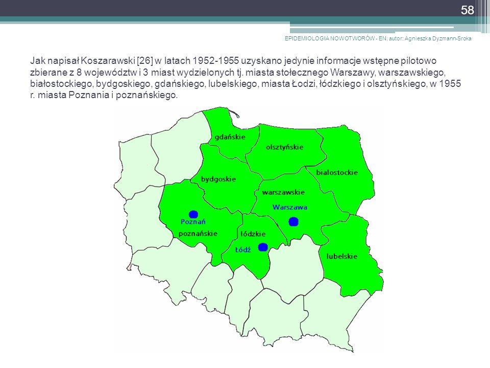 Jak napisał Koszarawski [26] w latach 1952-1955 uzyskano jedynie informacje wstępne pilotowo zbierane z 8 województw i 3 miast wydzielonych tj.