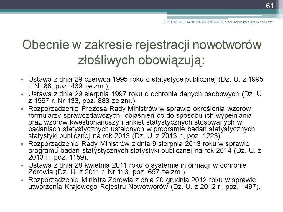Obecnie w zakresie rejestracji nowotworów złośliwych obowiązują: Ustawa z dnia 29 czerwca 1995 roku o statystyce publicznej (Dz.