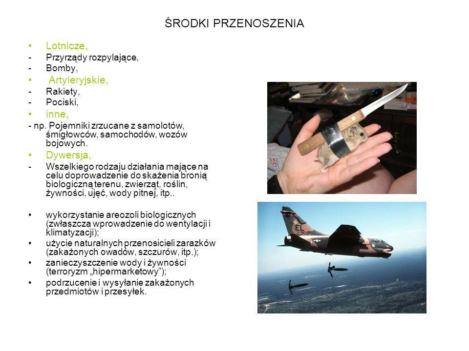 ŚRODKI PRZENOSZENIA Lotnicze, -Przyrządy rozpylające, -Bomby, Artyleryjskie, -Rakiety, -Pociski, inne, - np.