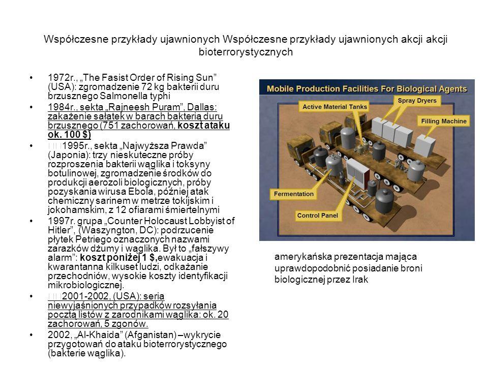 """Współczesne przykłady ujawnionych Współczesne przykłady ujawnionych akcji akcji bioterrorystycznych 1972r., """"The Fasist Order of Rising Sun (USA): zgromadzenie 72 kg bakterii duru brzusznego Salmonella typhi 1984r., sekta """"Rajneesh Puram , Dallas: zakażenie sałatek w barach bakterią duru brzusznego (751 zachorowań, koszt ataku ok."""