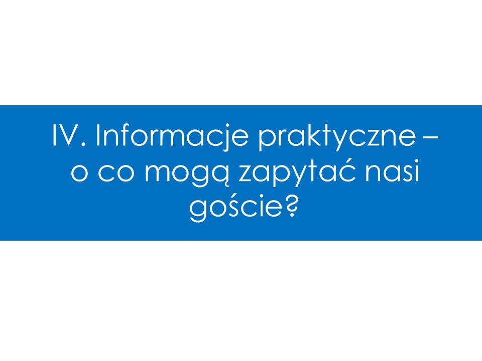 IV. Informacje praktyczne – o co mogą zapytać nasi goście