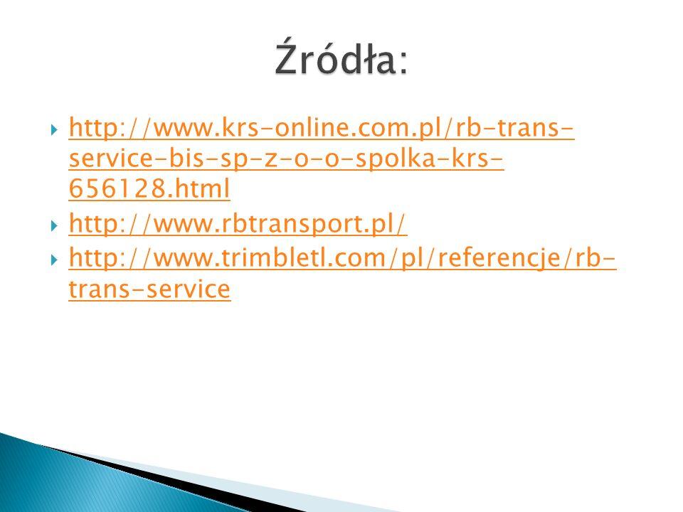  http://www.krs-online.com.pl/rb-trans- service-bis-sp-z-o-o-spolka-krs- 656128.html http://www.krs-online.com.pl/rb-trans- service-bis-sp-z-o-o-spolka-krs- 656128.html  http://www.rbtransport.pl/ http://www.rbtransport.pl/  http://www.trimbletl.com/pl/referencje/rb- trans-service http://www.trimbletl.com/pl/referencje/rb- trans-service